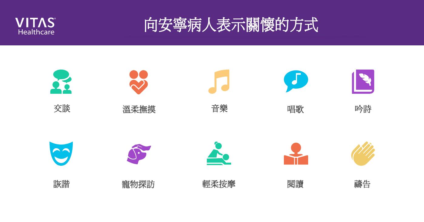 向安寧病人表示關心的其他方式包括:音樂、寵物探訪、唱歌、禱告、吟詩、詼諧談話、輕柔按摩、撫摸及聊天。